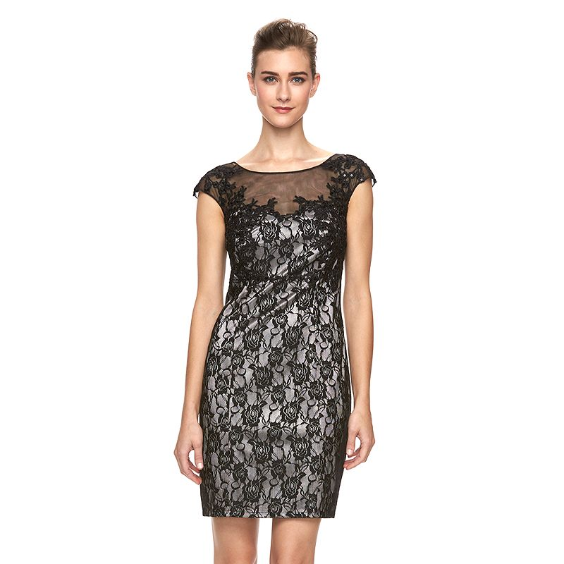 Women's 1 by 8 Lace Illusion Sheath Dress