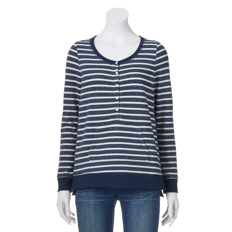 Petite SONOMA Goods for Life™ Striped French Terry Sweatshirt