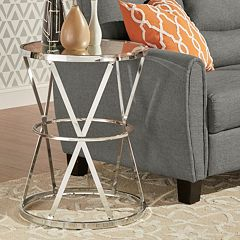 HomeVance Benelva Mirrored Top Accent Table  by