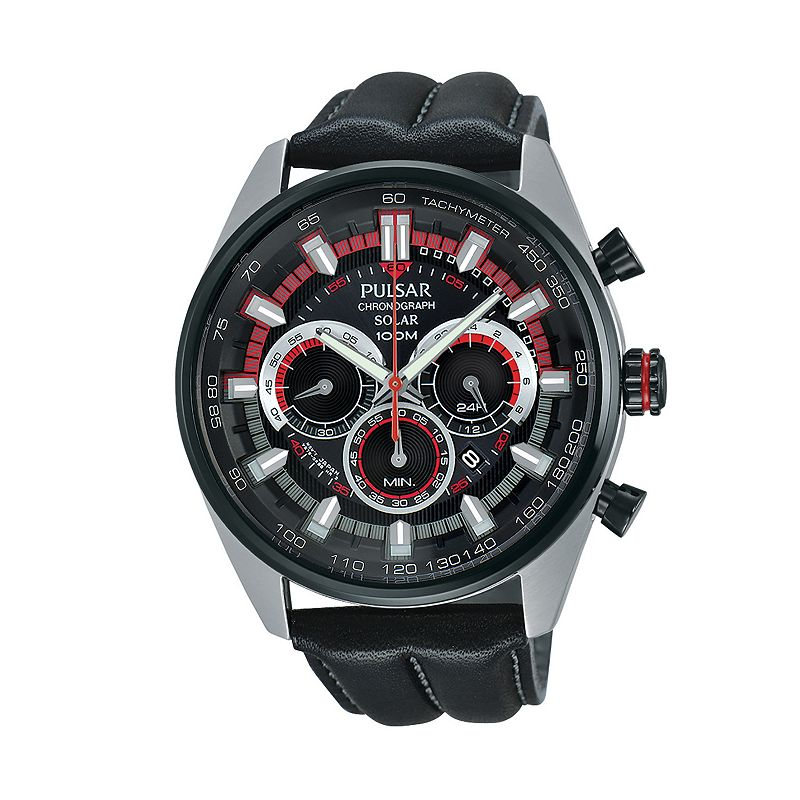 Pulsar Men's On the Go Leather Solar Chronograph Watch - PX5031
