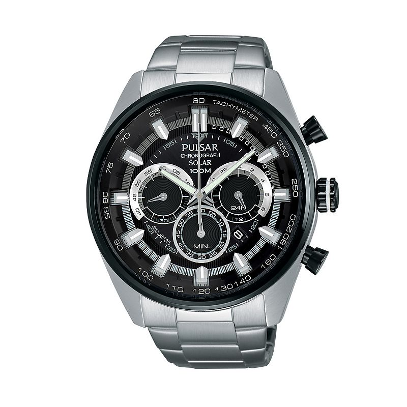 Pulsar Men's On the Go Stainless Steel Solar Chronograph Watch - PX5033