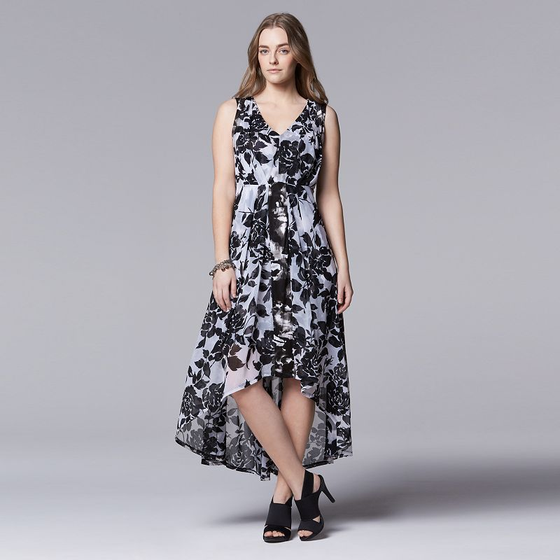 Plus Size Simply Vera Vera Wang Floral High-Low Maxi Dress