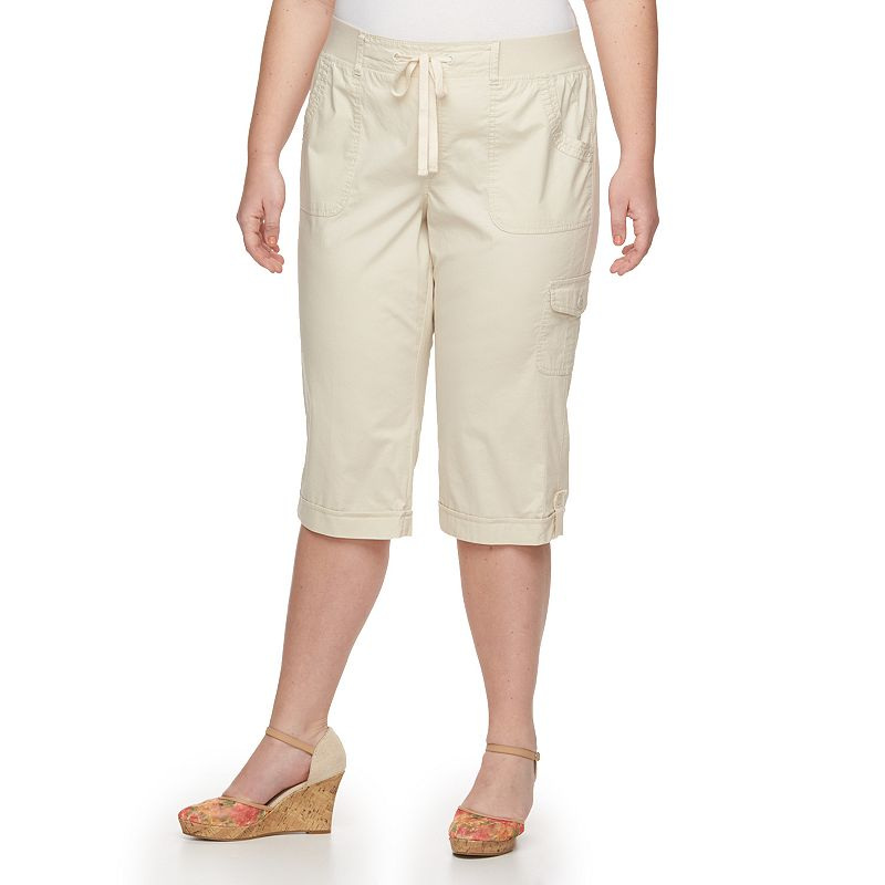 Plus Size Gloria Vanderbilt Dahlia Cuffed Twill Pull-On Capris