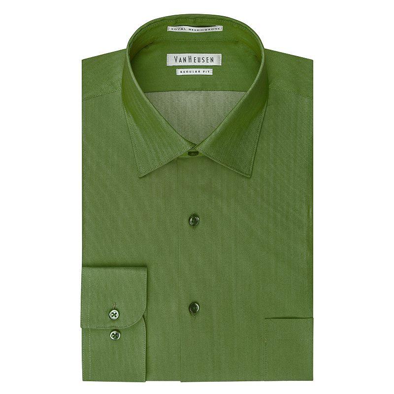 Van Heusen Herringbone Spread Down Collar Dress Shirt