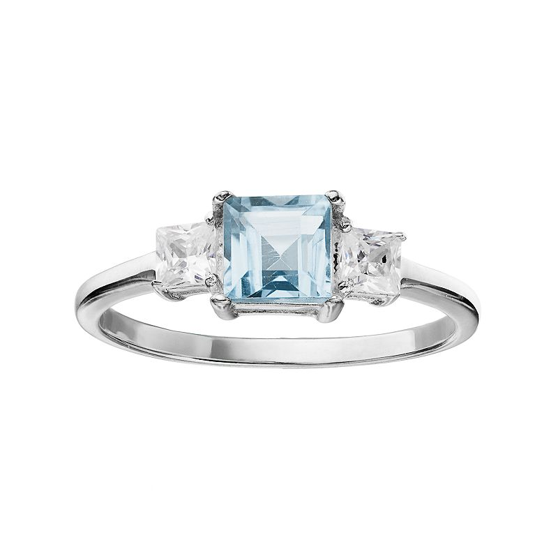 Sterling Silver Blue Topaz & Cubic Zirconia 3-Stone Ring