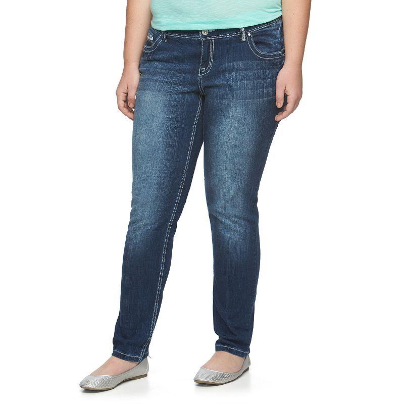 Juniors' Plus Size Amethyst Cuffed Skinny Jeans