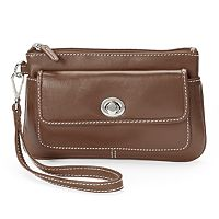 ili Turn Lock Leather Wristlet