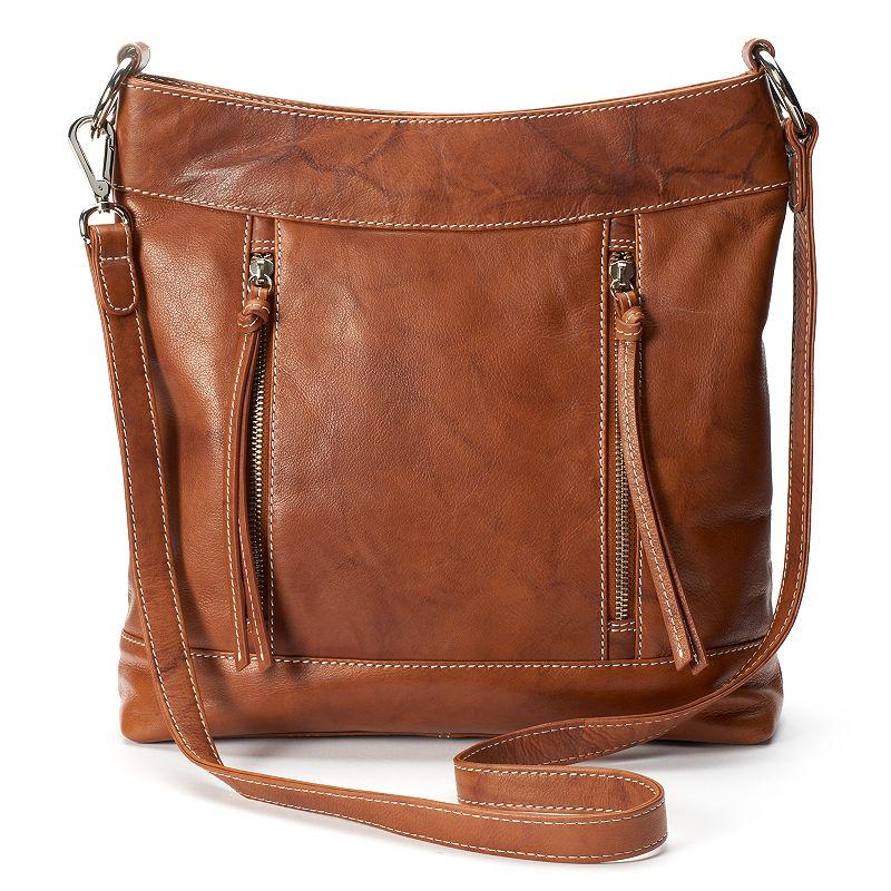 ili Leather Vertical Zippers Crossbody Bag