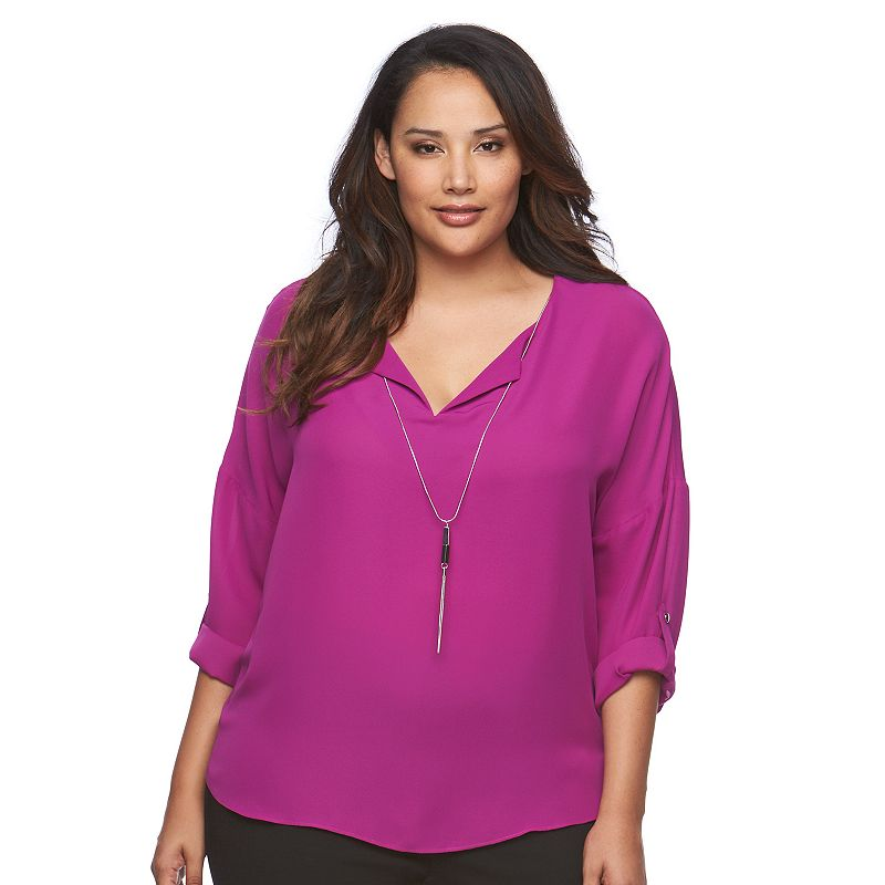 Plus Size Jennifer Lopez Dolman Necklace Top
