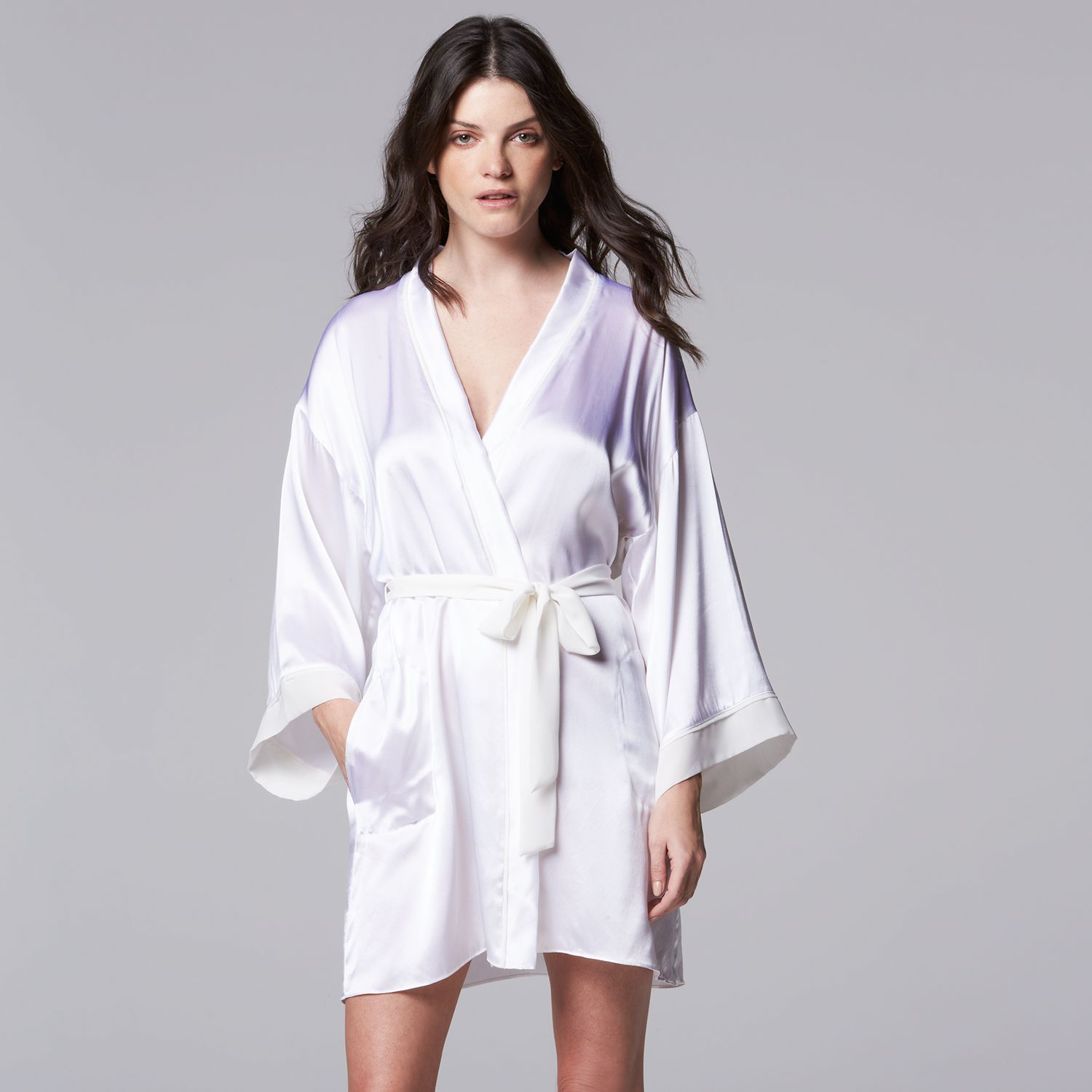 Womens Simply Vera Vera Wang Dream Bridal Charmeuse Wrap Robe