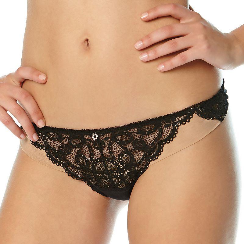 Montelle Intimates Keyhole Sheer Lace ThongPanty 9224
