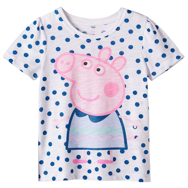 Toddler Girl Peppa Pig Slubbed Polka-Dot Tee