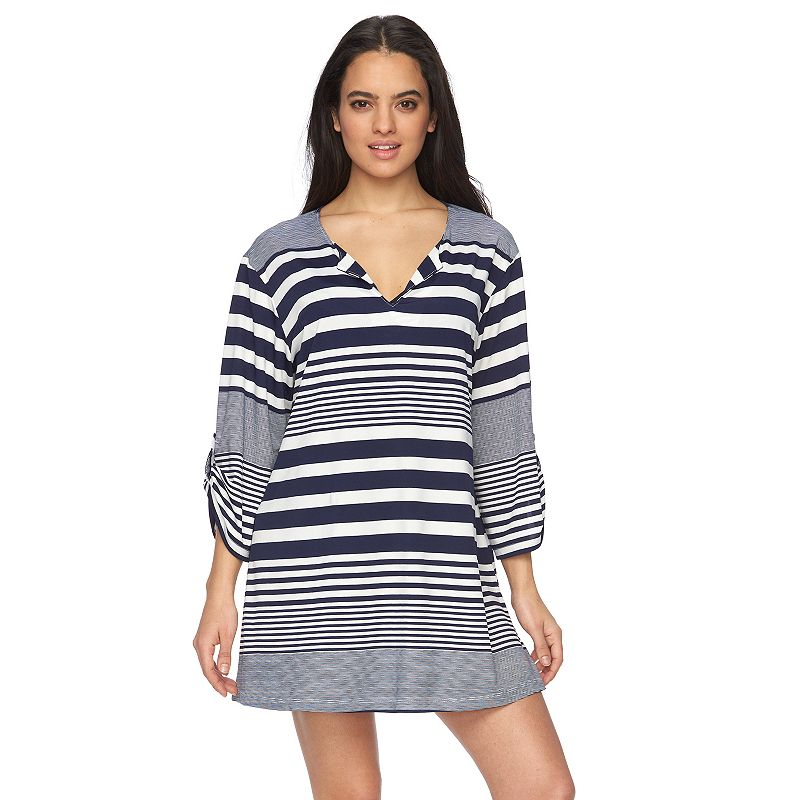 Women's Apt. 9® Striped Roll-Tab Cover-Up