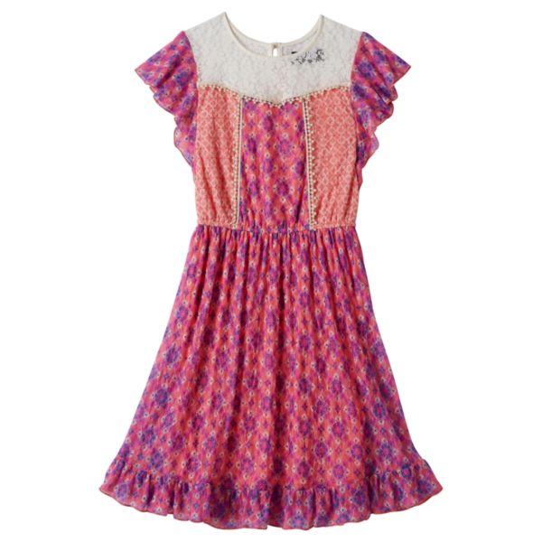 Girls 7-16 Disorderly Kids Lace-Yoke Floral Dress