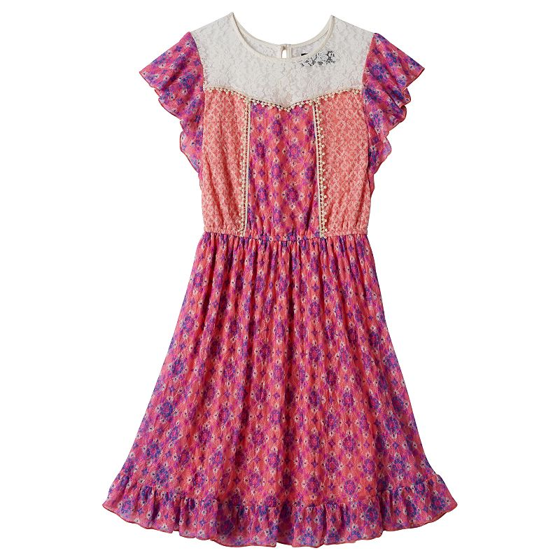 Girls 7-16 Disorderly Kids Lace-Yoke Floral Dress