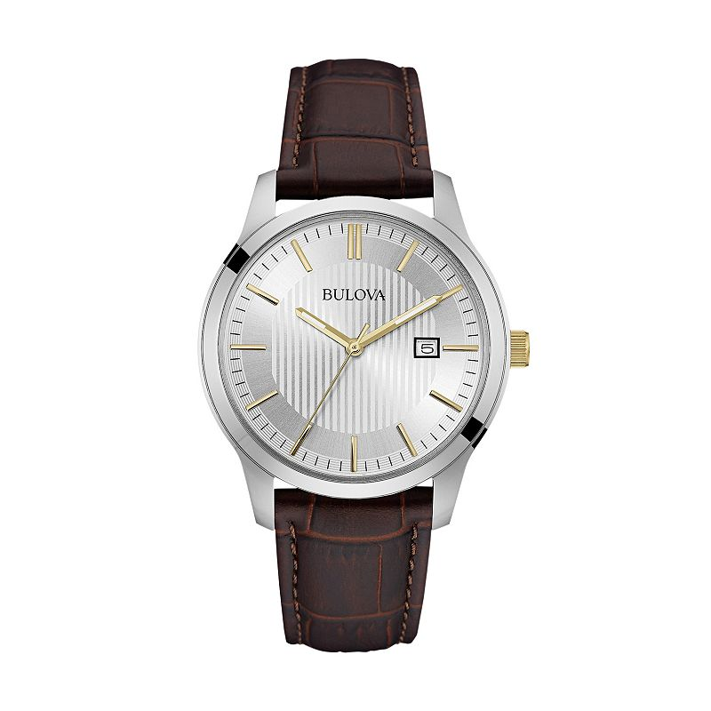 Bulova men 39 s leather watch 98b266 for Watches kohls