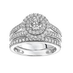 Simply Vera Vera Wang 14k White Gold 1 1/2 Carat T.W. Certified Diamond Double Halo Engagement Ring Set  by