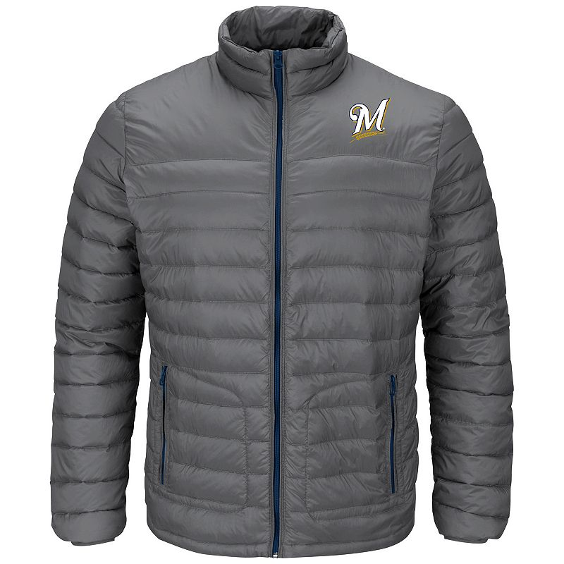 Men's Majestic Milwaukee Brewers Train To Win Puffer Jacket