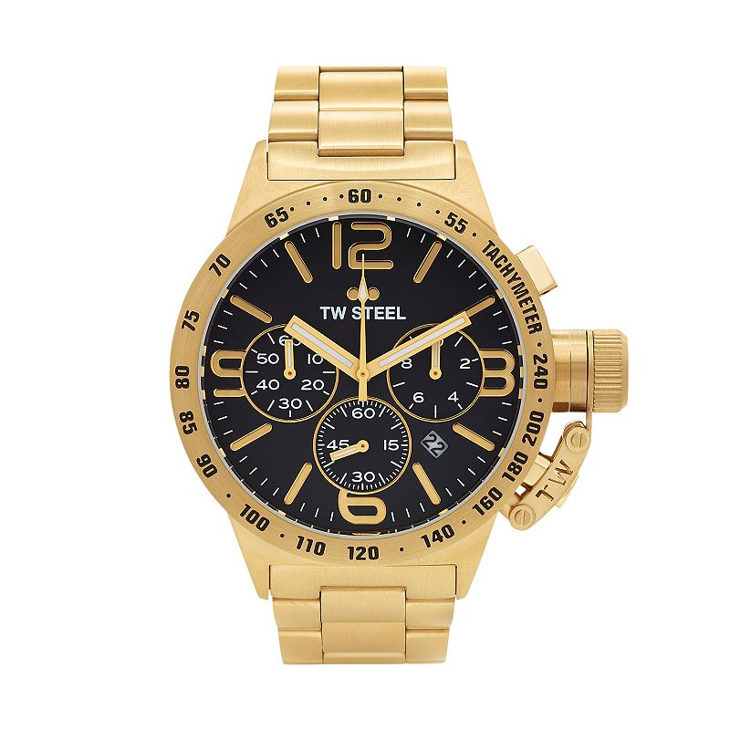 TW Steel Men's Canteen 14k Gold Over Stainless Steel Chronograph Watch - CB93