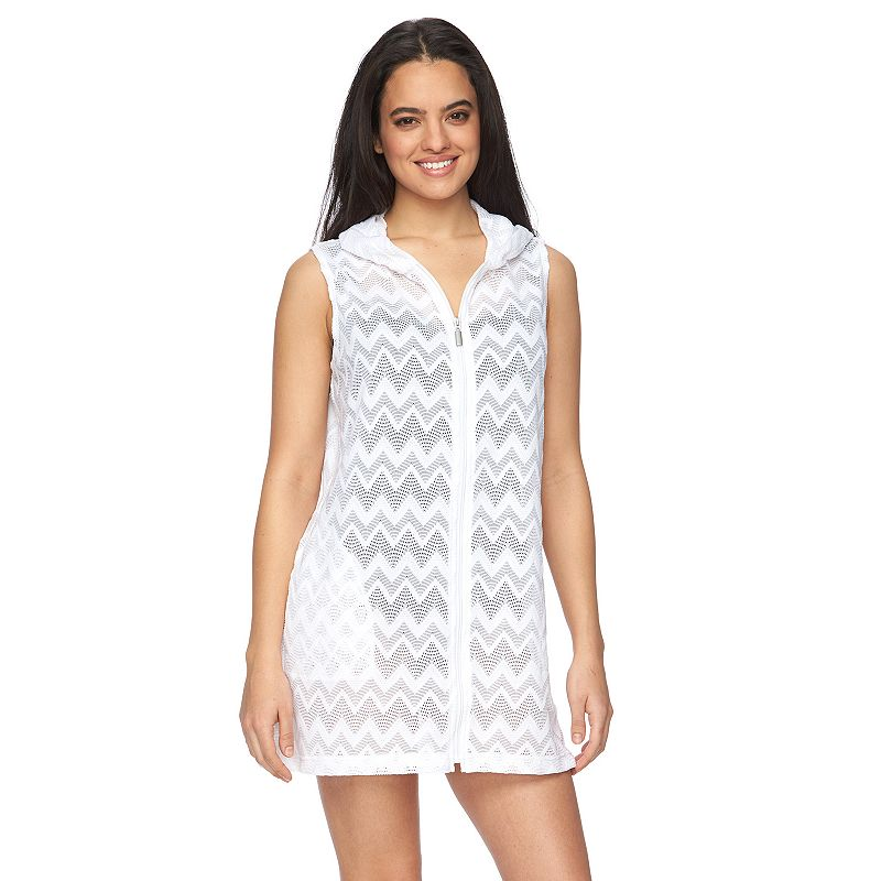 Women's Apt. 9® Hooded Chevron Crochet Cover-Up