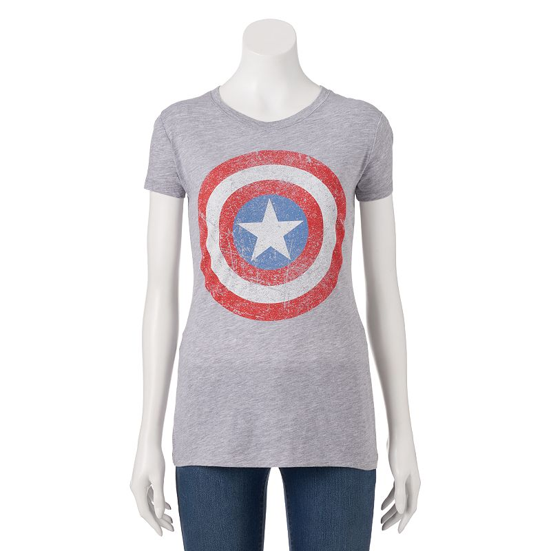 Juniors' Awake Marvel Captain America Shield T-Shirt