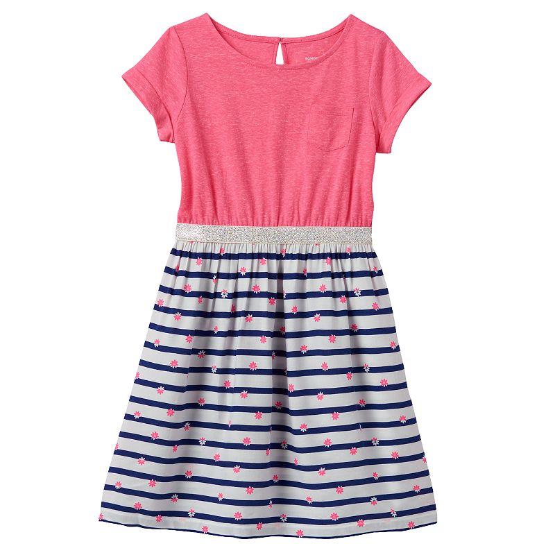 Girls 4-7 SONOMA Goods for Life™ Glitter Floral T-Shirt Dress