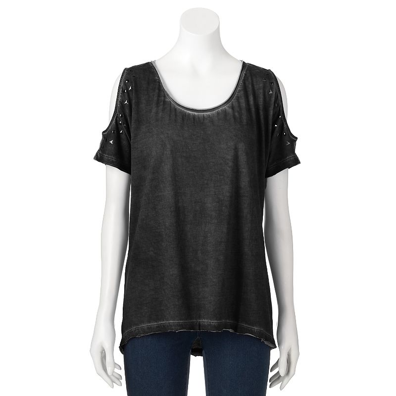 Women's Rock & Republic® Studded Cold-Shoulder Tee