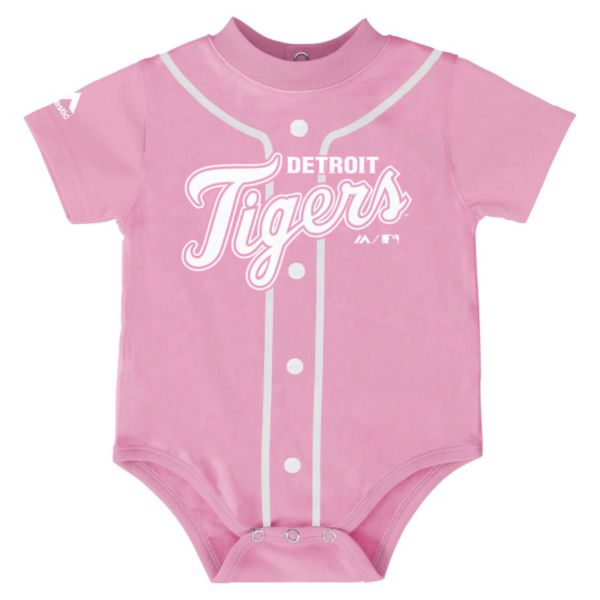 Baby Majestic Detroit Tigers Pink Jersey Bodysuit