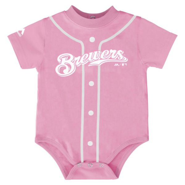 Baby Majestic Milwaukee Brewers Pink Jersey Bodysuit