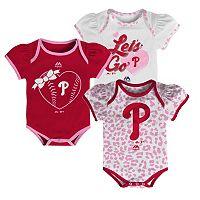 Baby Majestic Philadelphia Phillies Wild Pitch 3-Piece Bodysuit Set