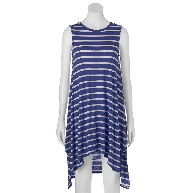 Juniors' Almost Famous Striped Hi-Low Swing Dress