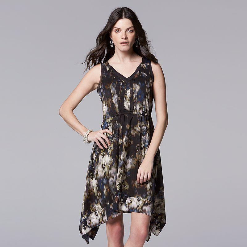 Petite Simply Vera Vera Wang Handkerchief Hem Fit & Flare Dress