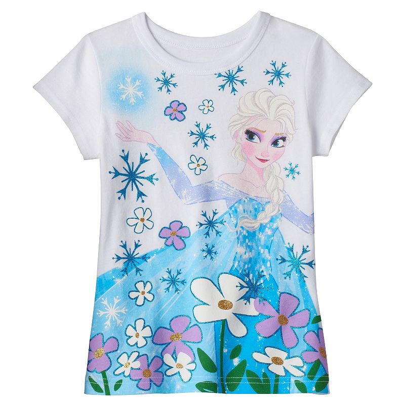 Disney's Frozen Elsa Girls 4-6x Floral Glitter Tee