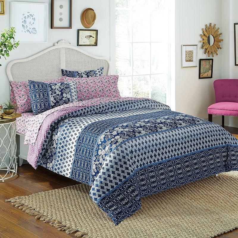 Free Spirit Indigo Floral Bed In A Bag Comforter Set