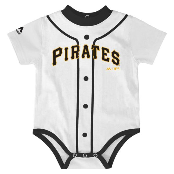 Baby Majestic Pittsburgh Pirates Home Jersey Bodysuit