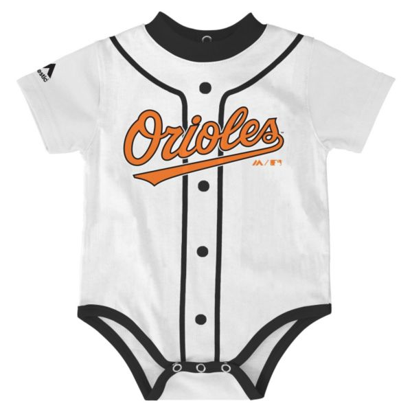 Baby Majestic Baltimore Orioles Home Jersey Bodysuit