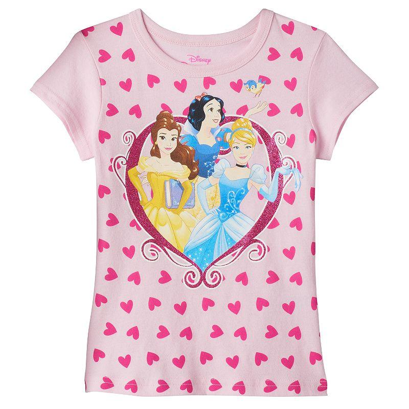 Disney Princess Belle, Cinderella & Snow White Girls 4-6x Glitter Tee