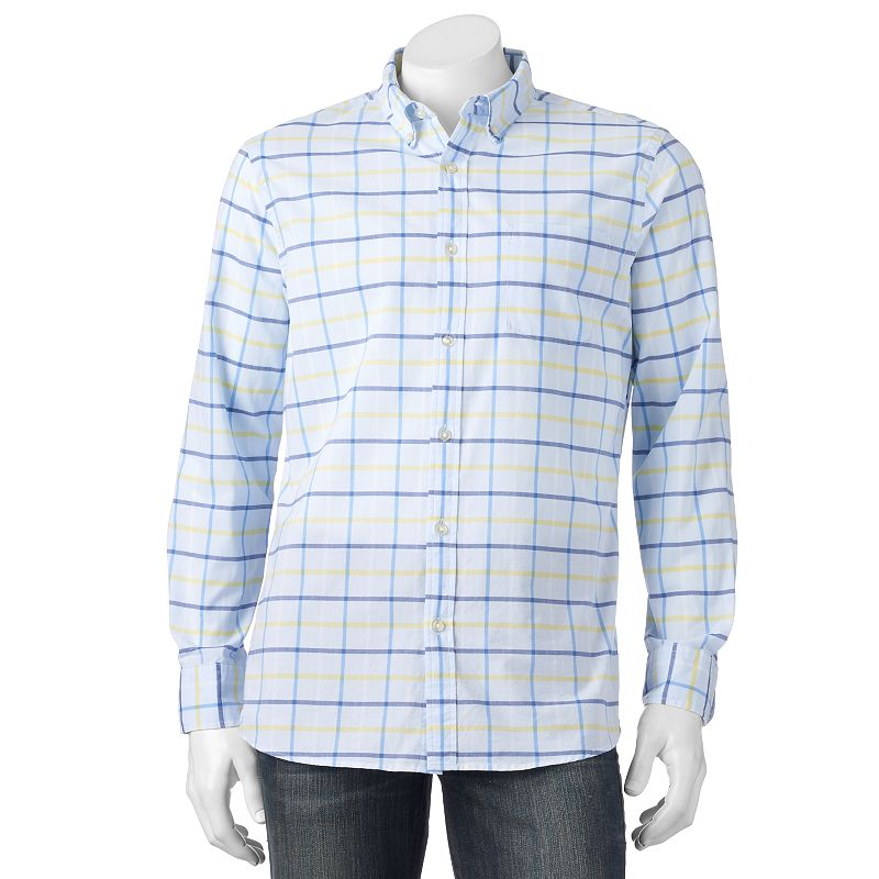 Big & Tall SONOMA Goods for Life™ Classic-Fit Plaid Poplin Button-Down Shirt