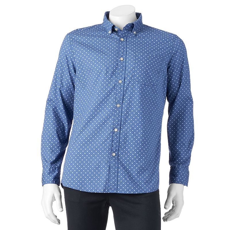 Big & Tall SONOMA Goods for Life™ Classic-Fit Geometric Poplin Button-Down Shirt