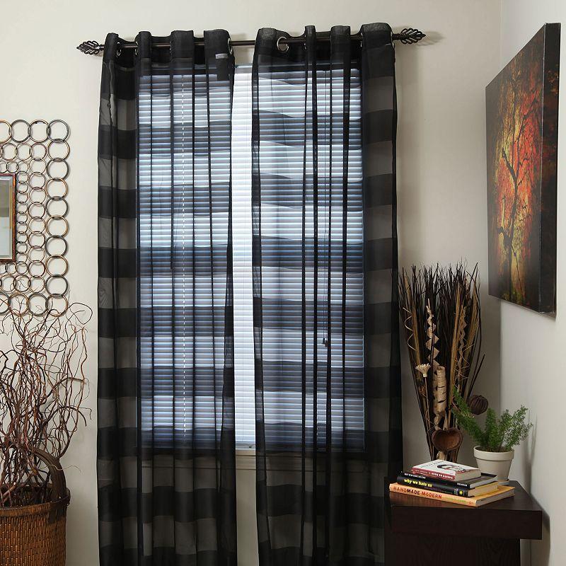 Portsmouth Home 2-pk. Sofia Striped Sheer Curtains