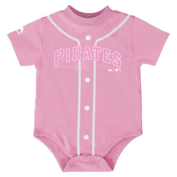 Baby Majestic Pittsburgh Pirates Pink Jersey Bodysuit