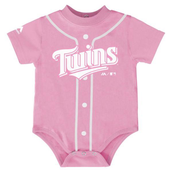 Baby Majestic Minnesota Twins Pink Jersey Bodysuit