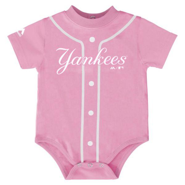 Baby Majestic New York Yankees Pink Jersey Bodysuit