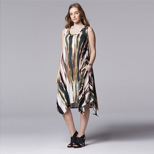 77fadedaba4 Enjoy the dramatic flair of this women s Simply Vera Vera Wang dress.  Brushstroke-striped pattern and handkerchief hem add eye-catching style to  this ...