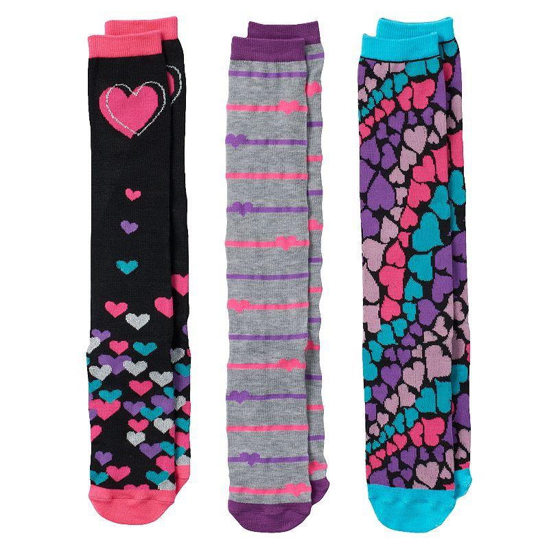 Girls Pink Cookie 3-pk. Lurex Heart Knee-High Socks