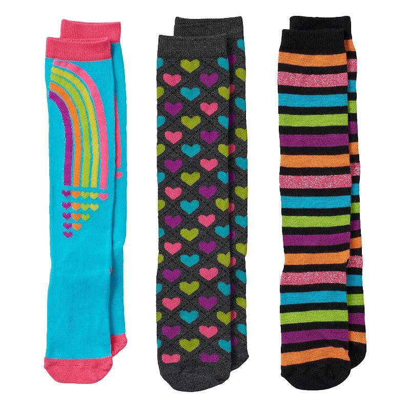 Girls Pink Cookie 3-pk. Lurex Rainbow Stripe Knee-High Socks