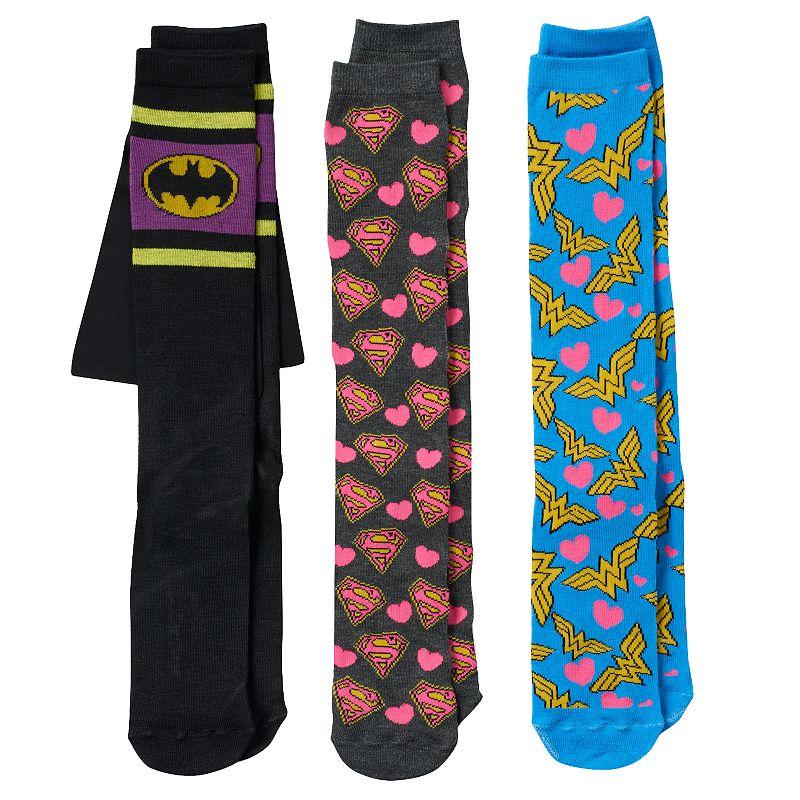 Girls Pink Cookie 3-pk. Superhero Knee-High Socks