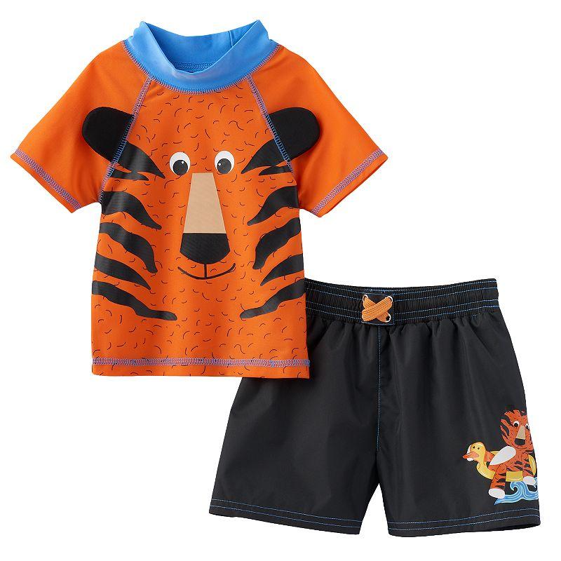 Baby Boy Candlesticks Rashguard & Swim Trunks Set