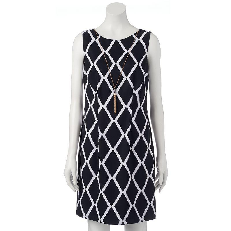Women's AB Studio Necklace Print Shift Dress