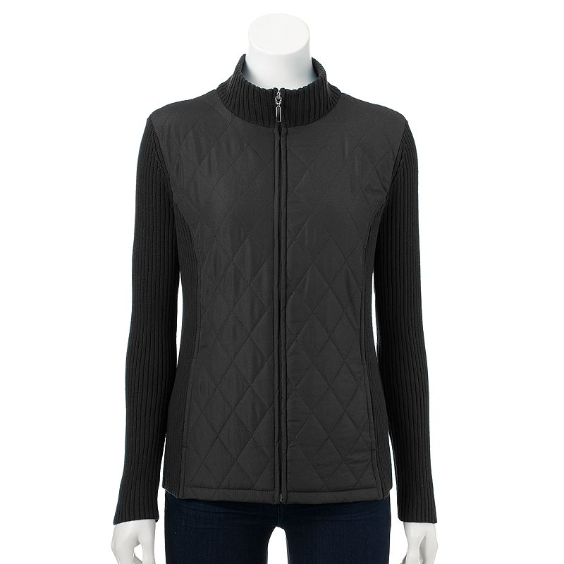Women's Croft & Barrow® Quilted Mockneck Sweater Jacket